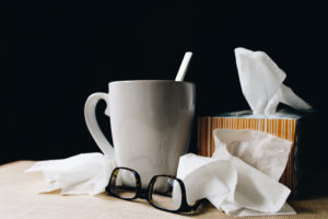 Sickness tissues and cup of tea
