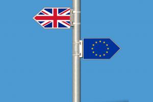 The united kingdom flag and European union flag in