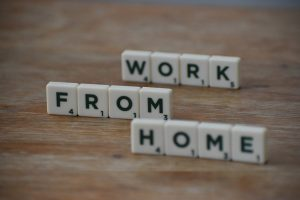 scrabble pieces spelling work from home