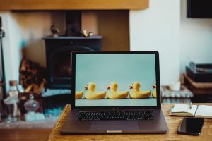 mac laptop with ducks in a row on screen